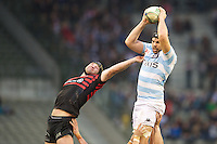 20121020 Copyright onEdition 2012©.Free for editorial use image, please credit: onEdition..Steve Borthwick of Saracens at full stretch against Francois Van der Merwe of Racing Metro 92 in the lineout during the Heineken Cup Round 2 match between Saracens and Racing Metro 92 at the King Baudouin Stadium, Brussels on Saturday 20th October 2012 (Photo by Rob Munro)..For press contacts contact: Sam Feasey at brandRapport on M: +44 (0)7717 757114 E: SFeasey@brand-rapport.com..If you require a higher resolution image or you have any other onEdition photographic enquiries, please contact onEdition on 0845 900 2 900 or email info@onEdition.com.This image is copyright the onEdition 2012©..This image has been supplied by onEdition and must be credited onEdition. The author is asserting his full Moral rights in relation to the publication of this image. Rights for onward transmission of any image or file is not granted or implied. Changing or deleting Copyright information is illegal as specified in the Copyright, Design and Patents Act 1988. If you are in any way unsure of your right to publish this image please contact onEdition on 0845 900 2 900 or email info@onEdition.com