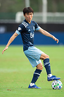 LAKE BUENA VISTA, FL - JULY 23: Hwang In-Beom #6 of Vancouver Whitecaps FC dribbles the ball during a game between Chicago Fire and Vancouver Whitecaps at Wide World of Sports on July 23, 2020 in Lake Buena Vista, Florida.