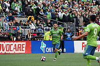 SEATTLE, WA - NOVEMBER 10: Cristian Roldan #7 of the Seattle Sounders FC plays the ball during a game between Toronto FC and Seattle Sounders FC at CenturyLink Field on November 10, 2019 in Seattle, Washington.