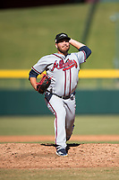 Peoria Javelinas relief pitcher Thomas Burrows (17), of the Atlanta Braves organization, delivers a pitch during an Arizona Fall League game against the Mesa Solar Sox at Sloan Park on November 6, 2018 in Mesa, Arizona. Mesa defeated Peoria 7-5 . (Zachary Lucy/Four Seam Images)