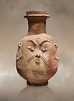 Ancient Egyptian god Bes jar, Late Period, 5th century BC.  Egyptian Museum, Turin. Drovetti collection cat 2553.