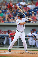 Pensacola Blue Wahoos first baseman Kyle Waldrop (15) at bat during the second game of a double header against the Biloxi Shuckers on April 26, 2015 at Pensacola Bayfront Stadium in Pensacola, Florida.  Pensacola defeated Biloxi 2-1.  (Mike Janes/Four Seam Images)