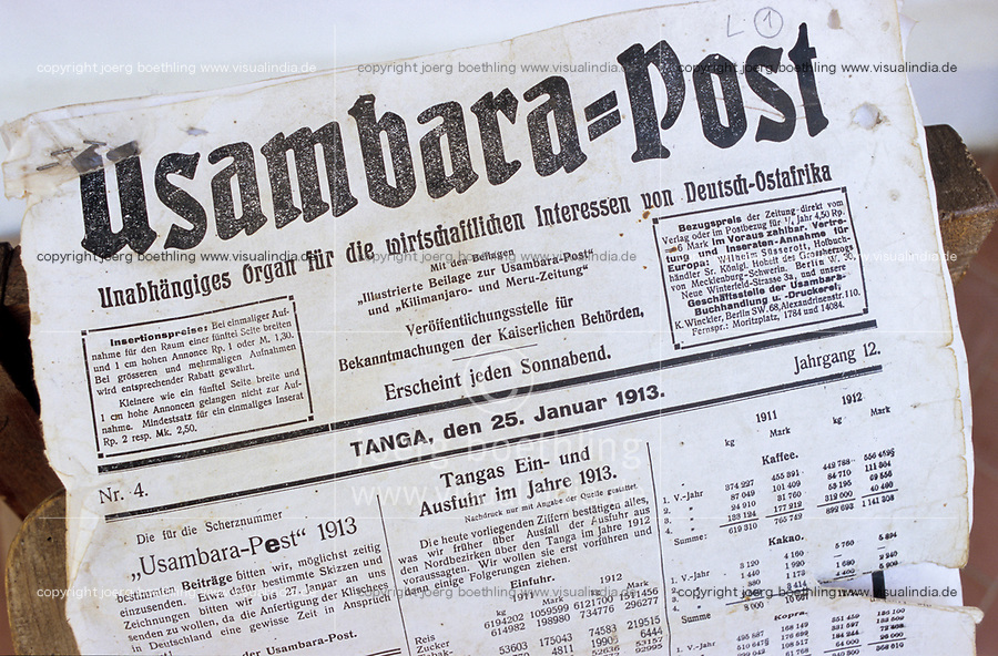 TANZANIA, Bagamoyo, Museum, Usambara Post, a german newspaper from colonial time dated 25. Jan 1913 published in Tanga / TANSANIA, Bagamoyo, Museum, Usambara Post, eine deutsche Zeitung aus der Kolonialzeit Deutsch-Ostafrika