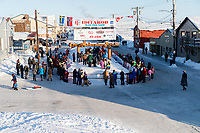 Aaron Burmeister at the finish line on Front street in Nome on Wednesday March 14th as he completes the 2018 Iditarod Sled Dog Race.    <br /> <br /> Photo by Jeff Schultz/SchultzPhoto.com  (C) 2018  ALL RIGHTS RESERVED
