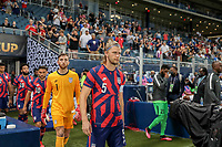 KANSAS CITY, KS - JULY 15: Walker Zimmerman #5 of the United States leads his team mates out to the line up during a game between Martinique and USMNT at Children's Mercy Park on July 15, 2021 in Kansas City, Kansas.