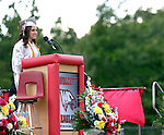 Wolcott, CT- 13 June 2016-061316CM13-  Wolcott High School graduate Susan Naseri addresses audience members during commencement exercises on Monday.  Nisei was also the class student government president.    Christopher Massa Republican-American