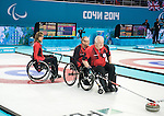 Dennis Thiessen, Jim Armstrong, and Sonja Gaudet, Sochi 2014 - Wheelchair Curling // Curling en fauteuil roulant.<br />