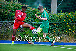 Tussling for possession, Kerry's Alex Hennigan and Kieran Hodan of Cork City in the U17 Mark Farran Cup