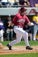 South Carolina first baseman Justin Smoak (12) follows through on his swing versus LSU at Sarge Frye Stadium in Columbia, SC, Thursday, March 18, 2007.