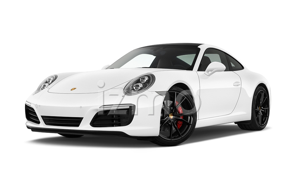 Stock pictures of low aggressive front three quarter view of a 2018 Porsche 911 Carrera S 2 Door Coupe