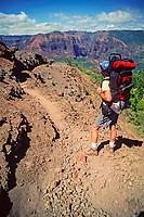 hiking Waimea canyon, Kauai, Hawaii, Pacific Ocean