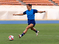 TOKYO, JAPAN - JULY 20: Alex Morgan #13 of the USWNT strikes a ball during a training session at the practice fields on July 20, 2021 in Tokyo, Japan.
