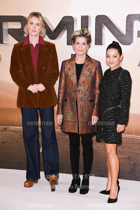 "LONDON, UK. October 17, 2019: Mackenzie Davis, Linda Hamilton and Natalia Reyes at the ""Terminator: Dark Fate"" photocall, London.<br /> Picture: Steve Vas/Featureflash"