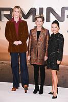 "LONDON, UK. October 17, 2019: Mackenzie Davis, Linda Hamilton and Natalia Reyes at the ""Terminator: Dark Fate"" photocall, London.<br /> Picture: Steve Vas/Featureflash"