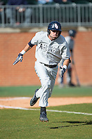 CJ Chatham (10) of the Florida Atlantic Owls hustles down the first base line against the Charlotte 49ers at Hayes Stadium on March 14, 2015 in Charlotte, North Carolina.  The Owls defeated the 49ers 8-3 in game one of a double header.  (Brian Westerholt/Four Seam Images)
