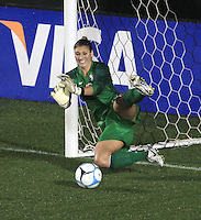 Hope Solo makes PK save only to lose the rebound allowing Australia to tie the US at 2-2.during the US Women's National Team friendly match with Australia at WakeMed Soccer Park in Cary, NC. USA-3 Australia-2