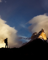 Paine Mastiff horns mountains and hiker. Torres Del Paine National Park, Chile, Patagonia