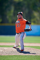Baltimore Orioles pitcher Bobby Bundy (27) delivers a pitch during a minor league Spring Training game against the Boston Red Sox on March 16, 2017 at the Buck O'Neil Baseball Complex in Sarasota, Florida.  (Mike Janes/Four Seam Images)