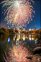 Fireworks in Central Park, and the reflection of the fireworks in the water is like a giant piece of Pollock style abstract painting.
