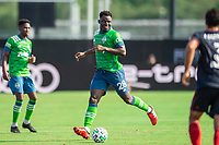 LAKE BUENA VISTA, FL - JULY 14: Yeimar Gomez #28 of the Seattle Sounders dribbles the ball during a game between Seattle Sounders FC and Chicago Fire at Wide World of Sports on July 14, 2020 in Lake Buena Vista, Florida.