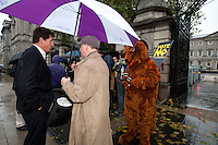 NO REPRO FEE. 24/10/2011. VOTE NO TO 30TH AMENDMENT. Eamon Ryan TD and protesters in Kangaroo outfits (keeping with the 'Kangaroo courts' theme of the campaign) are pictured outside Leinster House on Kildare Street Dublin handing out referendum leaflets. learn more at www.kangaroocourts.net. for more information please contact Walter Jayawardene.Irish Council for Civil Liberties.Tel. + 353 1 799 4503 Mob: +353 87 9981574E-mail walter.jayawardene@iccl.iePicture James Horan/Collins Photos
