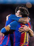 Luis Suarez of FC Barcelona celebrates with teammate Lionel Andres Messi during their Copa del Rey 2016-17 Semi-final match between FC Barcelona and Atletico de Madrid at the Camp Nou on 07 February 2017 in Barcelona, Spain. Photo by Diego Gonzalez Souto / Power Sport Images