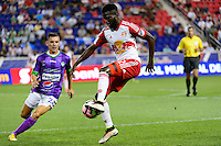 Harrison, NJ - Wednesday Aug. 03, 2016: Fabian Castillo, Kemar Lawrence during a CONCACAF Champions League match between the New York Red Bulls and Antigua at Red Bull Arena.