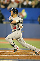 March 8, 2009:  Second baseman Dustin Pedroia (15) of Team USA during the first round of the World Baseball Classic at the Rogers Centre in Toronto, Ontario, Canada.  Team USA defeated Venezuela  15-6 to secure a spot in the second round of the tournament.  Photo by:  Mike Janes/Four Seam Images