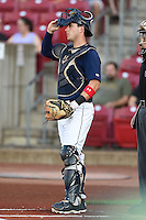 Cedar Rapids Kernels catcher Mitch Garver (25) during a game against the Quad Cities River Bandits on August 18, 2014 at Perfect Game Field at Veterans Memorial Stadium in Cedar Rapids, Iowa.  Cedar Rapids defeated Quad Cities 4-2.  (Mike Janes/Four Seam Images)