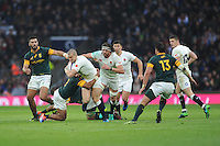 Mike Brown of England is tackled by Rudy Paige of South Africa as Tom Wood of England supports during the Old Mutual Wealth Series match between England and South Africa at Twickenham Stadium on Saturday 12th November 2016 (Photo by Rob Munro)