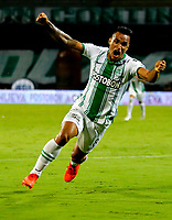 MEDELLIN-COLOMBIA, 18-10-2020: Brayan Rovira de Atletico Nacional, celebra el gol anotado a America de Cali, durante partido de la fecha 15 entre Atletico Nacional y America de Cali, por la Liga BetPLay DIMAYOR 2020, jugado en el estadio Atanasio Girardot de la ciudad de Medellin. / Brayan Rovira of Atletico Nacional celebrates the scored goal to America de Cali, during a match of the 15th date between Atletico Nacional and America de Cali, for the BetPLay DIMAYOR League 2020 played at the Atanasio Girardot Stadium in Medellin city. / Photo: VizzorImage / Donaldo Zuluaga / Cont.