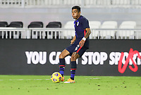 FORT LAUDERDALE, FL - DECEMBER 09: Julian Araujo #2 of the United States passes off the ball during a game between El Salvador and USMNT at Inter Miami CF Stadium on December 09, 2020 in Fort Lauderdale, Florida.