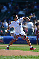Actor Joel Murray throws out a ceremonial first pitch before a Chicago Cubs game against the Milwaukee Brewers on August 14, 2014 at Wrigley Field in Chicago, Illinois.  Milwaukee defeated Chicago 6-2.  (Mike Janes/Four Seam Images)