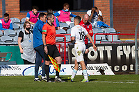 24th April 2021; Dens Park, Dundee, Scotland; Scottish Championship Football, Dundee FC versus Raith Rovers; Dylan Tait of Raith Rovers leaves the pitch after being red carded for a bad challenge on Paul McGowan of Dundee