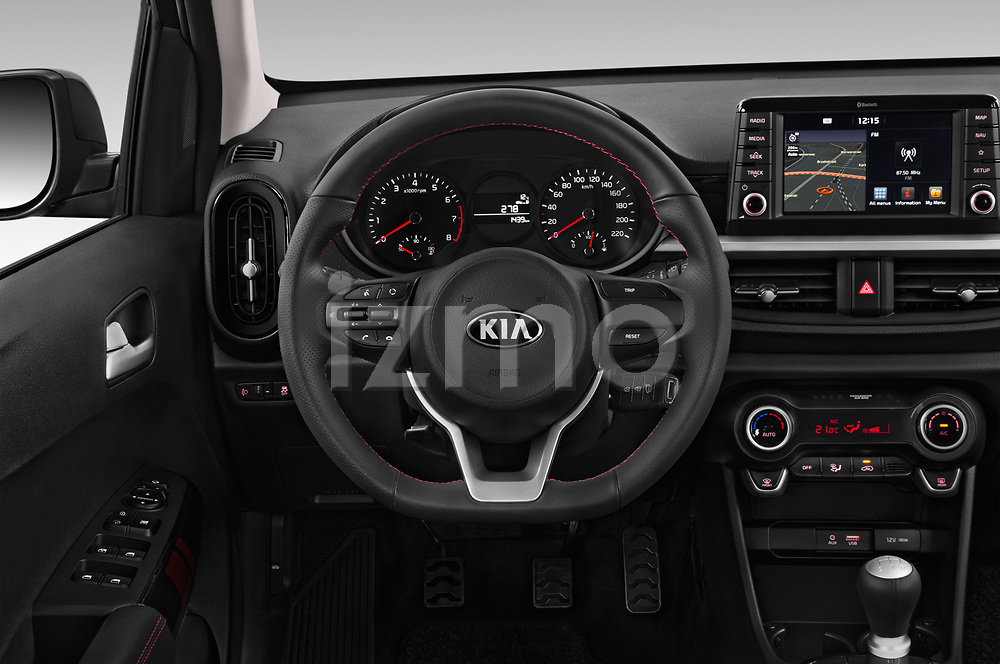 Car pictures of steering wheel view of a 2019 KIA Picanto GT Line 5 Door Hatchback