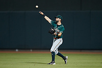 Greensboro Grasshoppers right fielder Chase Murray (5) throws the ball back to the infield during the game against the Winston-Salem Dash at Truist Stadium on June 17, 2021 in Winston-Salem, North Carolina. (Brian Westerholt/Four Seam Images)