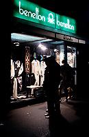 1986 File Photo - BENETTON store front display on Saint-Catherine Street in Montreal,