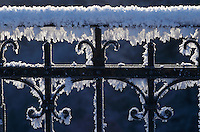 Frost on iron bridge fence, Lorzentobel bridge, Zug, Switzerland, Europe