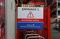 A sign at the entrance to Charlton Athletic FC to confirm that Covid-19 control measures are in place during Charlton Athletic vs AFC Wimbledon, Sky Bet EFL League 1 Football at The Valley on 12th December 2020