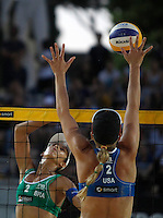 Jennifer Kessy, of the United States, in action against Talita Antunes da Rocha, left, during the women's final match between Brazil and United States at the Beach Volleyball World Tour Grand Slam, Foro Italico, Rome, 23 June 2013. Brazil defeated United States 2-1.<br /> UPDATE IMAGES PRESS/Isabella Bonotto