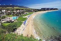 Kaanapali Beach and the West Maui Mountains, Hawaii.<br />