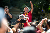 """Manu Chao, Musician.<br /> <br /> Memoria è Lotta (Memory is Struggle); Per Non DimentiCarlo (To Not Forget Carlo).<br /> <br /> Presidio in Piazza Alimonda, Rally in Piazza Alimonda (AKA Piazza Carlo Giuliani, Ragazzo) where at 17:27 of the 20th July 2001 the 23-year-old-demonstrator Carlo Giuliani - who was carrying over his head a fire extinguisher - was killed by firearm bullets shot by the 20-year-old Carabinieri's (police) officer Mario Placanica and then run over twice by a Carabinieri's Land Rover.<br /> <br /> Genoa, Italy. 19, 20, 21 July 2021. Twenty years after the dramatic and terrifying events related to the 2001 Genoa's G8 meeting, according to Amnesty International: """"the most serious suspension of democratic rights in a Western country since the Second World War"""" (1.) and as stated on the 2001 """"Report on the situation of fundamental rights in the EU"""" the European Parliament """"deplores the suspensions of fundamental rights that took place during public demos, and in particular at the G8 meeting in Genoa, such as freedom of expression, freedom of movement, the right to physical integrity"""" (2.). As a reminder, the City of Genoa is State Gold Medal (Medaglia D'Oro) for its Antifascist Resistance in World War II.<br /> Some photos, part of this story, are presented appositely in Black & White to show to the audience """"the Places"""" where the majority of - the already mentioned (see above) - """"suspensions of fundamental rights […] such as freedom of expression, freedom of movement, the right to physical integrity"""" (2.) happened.<br /> ...<br /> <br /> FULL CAPTION & LINKS AT THE BEGINNING OF THIS STORY.<br /> <br /> Footnotes, Links:<br /> <br /> 1. http://bit.do/fRvdg<br /> 2. http://bit.do/fRvdi<br /> <br /> http://www.veritagiustizia.it/doc_eng/<br /> https://www.carlogiuliani.it<br /> https://en.wikipedia.org/wiki/Death_of_Carlo_Giuliani<br /> The bloody battle of Genoa (Source, The Guardian, 2008): http://bit.do/fRvB2"""