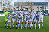 team Club Brugge YLA ( goalkeeper Elke Geeraert (25) , Nicky Van Den Abbeele (28) , Marie Minnaert (13) , Frieke Temmerman (17) , Isabelle Iliano (18) , Ellen Martens (2) and Angel Kerkhove (11) , Raquel Viaene (5) , Celien Guns (10) , Elle Decorte (7) , Febe Vanhaecke (3) ) pictured before a female soccer game between  AA Gent Ladies and Club Brugge YLA on the 16th matchday of the 2020 - 2021 season of Belgian Scooore Womens Super League , saturday 13 th of March 2020  in Oostakker , Belgium . PHOTO SPORTPIX.BE | SPP | STIJN AUDOOREN