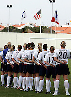 USA starting 11 during the national anthem at the VRS Antonio Stadium in VRS Antonio, March 14, 2007, during the final of Algarve Women's Cup soccer match between USA and Denmark. USA won 2-0.