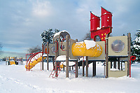 Snow Covered Children's Playground in Stanley Park, Vancouver, BC, British Columbia, Canada, Winter