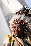 Native American Indian in a ceremonial headdress