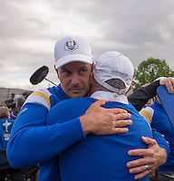 28.09.2014. Gleneagles, Auchterarder, Perthshire, Scotland.  Henrik Stenson (EUR) with Paul McGinley European Team Captain during celebrations on the 15th following Jamie Donaldson's (EUR) winning point wins the Ryder Cup for Team Europe.   Team Europe won the trophy sixteen and a half points to eleven and a half.