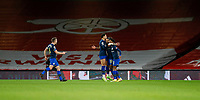 17th December 2020, Emirates Stadium, London, England;  Southamptons Theo Walcott celebrates after scoring with his teammates during the English Premier League match between Arsenal and Southampton