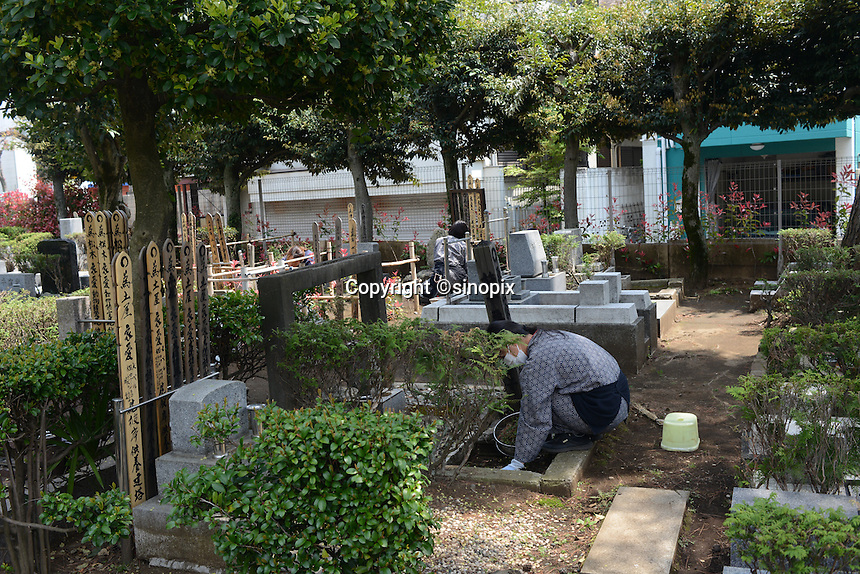 Worker of pet grave cleans up the graveyard<br /> <br /> Individual graves for lost loved pets. Gravestones are designed with thoughts.<br /> <br /> Jikeiin is the biggest pet graveyard in western suburb of Tokyo.  This has founded in 1921 and 13000m2 land space.  They have 16 cremation machine which can cremate from small animal like turtle or birds to big animals like tigers and bears.  They provide buddism style funeral ceremony and graves to pet owners who have lost their loved pets.  Jikeiin is the non-sectarian temple.