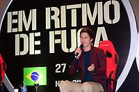"""SÃO PAULO,SP - 24.07.2017 - ANSEL-ELGORT - Ator norte-americano Ansel Elgort (A Culpa das Estrelas ) e o diretor do filme Edgar Wright durante coletiva de imprensa  novo filme """" Em Ritmo de Fuga"""" no Hotel Hyatt em Sao Paulo nesta segunda-feira, 24 (Fotos: Eduardo Martins / Brazil Photo Press)"""